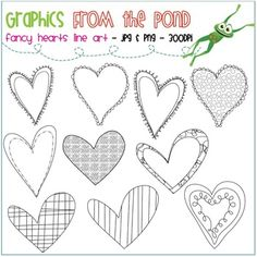 Here's a set of Fancy Heart Line Art graphics by Graphics From the Pond.