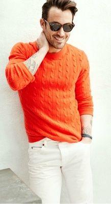+ orange sweater white jeans +