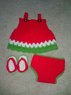 Crochet Watermelon baby dress. $35.00, via Etsy.  I made this!!! :D
