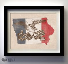 Iowa State Motto Flag state shape by texowadesigns on Etsy, $25.00