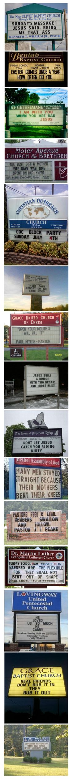 15 Unintentionally Sexual Church Signs http://yeahrightdude.com/15-unintentionally-sexual-church-signs/