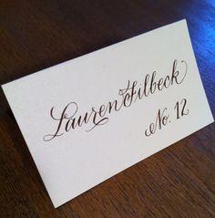Escort Card Calligraphy by myrtleandlloyd on Etsy