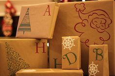 Wrap presents with kraft paper and customize with vinyl. Adorable! holiday, silhouett, gift wrap, wrap idea, kraft paper, vinyl, papers, gift idea, diy