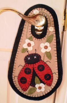 LADY BUG Penny Rug Door Knob Hanger Instant Download