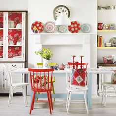 white and light with pops of red