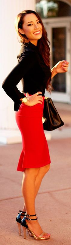 chic outfits, the office, street style, red skirt, hapa time, pencil skirts, work outfits, shoe, red black