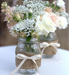 Twine, mason jar, vase, decor, weddings, baby showers, parties, holidays