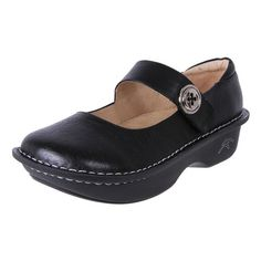 Women's black leather comfortable work shoes. Orthotic friendly