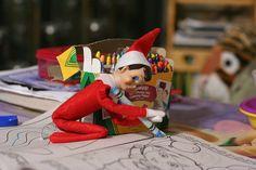 shelf fun, shelf idea, boxes, crazi elf, coloring, elf color, crayons, elv, christma elf