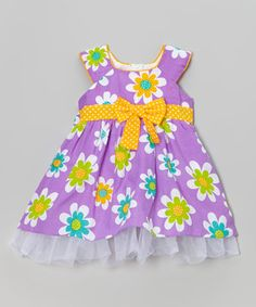 This Purple Daisy Tulle A-Line Dress - Toddler & Girls by Littoe Potatoes is perfect! #zulilyfinds