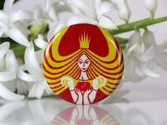 Princess with an apple, Beautiful vintage pin from USSR, 70s. $5.50, via Etsy.
