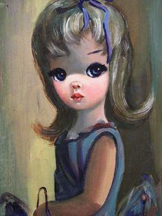 Original 1960's Big Eyed Oil Painting by EDEN by elefantdesign