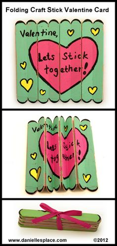 """Valentine, Let's Stick Together,"" using craft sticks, is a unique idea for creating Valentine's Day cards."