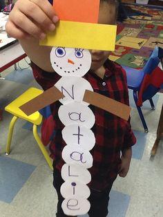 Snowman with names! holiday, kindergarten glyphs, language activities, snowman crafts, name writing, classroom winter craft, learning activities, infant art, winter preschool crafts
