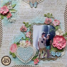 Beautiful Botanical Tea layout from Karen Shady. Love the flowers! #graphic45 #layouts