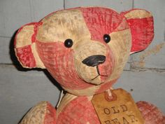 Old Vintage Quilt Bear Jointed 16 Inch by kittredgemercantile, $69.95