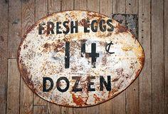 Fresh Eggs Metal Sign - From Antiquefarmhouse.com - http://www.antiquefarmhouse.com/current-sale-events/kitchen2/fresh-eggs-metal-sign.html