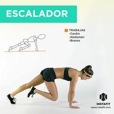 """Movimiento """"escalador"""" ideal para trabajar cardio y tonificar abdomen y brazos."""