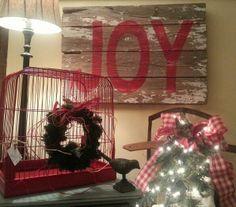 Joy birdcag idea, pallet art, christma, the holiday