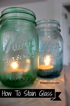 project, idea, craft, glasses, mason jar, decorating glass jars, super easi, diy, how to stain glass jars