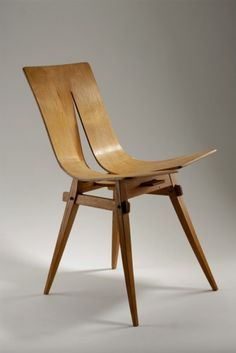 Jan Kurzątkowski; Molded Plywood Chair, 1952.