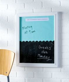 Make a dry erase board AND a chalkboard out of one frame! Great thank you gift for a teacher!