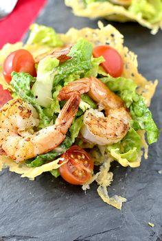 Shrimp Caesar Salad in Crispy Parmesan Cups by iowagirleats #Salad #Shrimp_Caesar