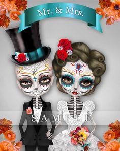 Custom illustration Sugar Skull Wedding Day of the by stkhit, $30.00