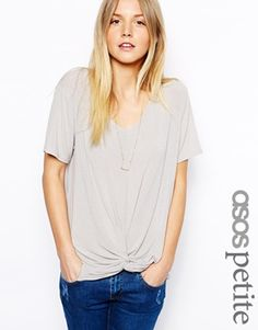 Image 1 of ASOS PETITE Slouchy Top With Twist Front