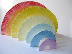 fun way of teaching light spectrum craft, plate rainbow, art, rainbows, papers, rainbow colors, light, paper plates, kid