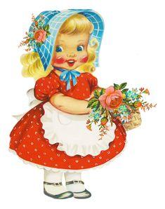 vintage postcards, girl illustr, little girls, vintage illustrations, vintag card