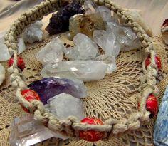Macrame Beaded Necklace Orange Beads Hippie by Lusmysticjewels, $20.00
