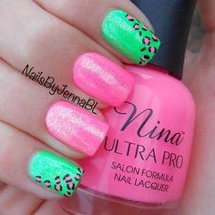 Bright glitter neon Pink and green nail art + animal print