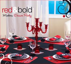 table setting, red and black