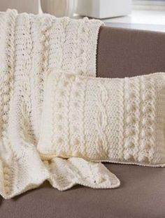 Popcorn and Twists Afghan and Pillow, S8808