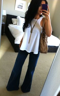 wide leg jeans white tank. Hair  necklace!
