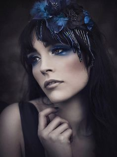 Feather headpiece multi texture floral beaded by CostureroReal, €35.00 darkmoon, beauti closeup, dress, rebecasaray, art, beauti portrait, deep blue, rebeca saray, eye