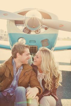 Vintage Airplanes   Motorcycles Engagement Shoot