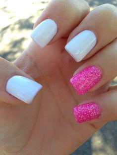 pink nails, nail arts, pink and white nails, nails plain