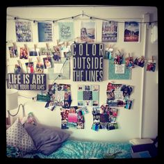 My bedroom in high school looked something like this...all my favorite things tacked to the wall, and ceiling! Pics of friends, pics from surf magazines and all of my favorite lyrics :)