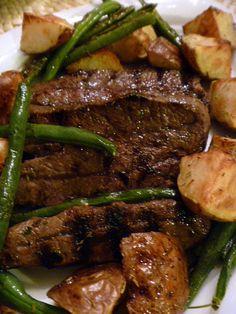 dinner, irons, olive oils, steaks, food