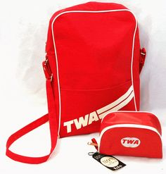 twa airlines flight bag and shave kit bag