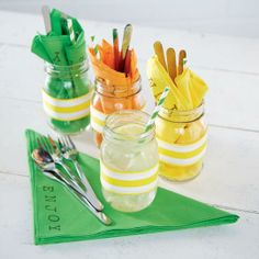 Mason Jar Silverware Containers with Stamped Napkins - change the colors to fit your party theme