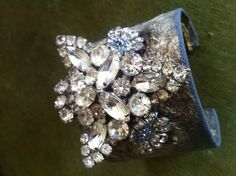 Vintage fabric cuff adorned with vintage rhinestone pieces. $95 vintag rhineston, rhineston piec, fabric cuff