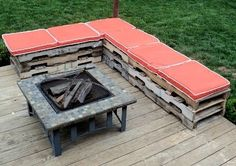 outdoor seating, fire pits, idea, bench, wooden pallets