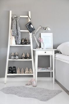Great idea to store shoes with a ladder against a wall! I want to do the same for our Master bedroom!