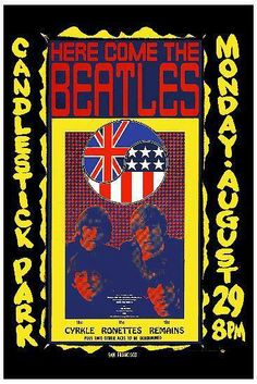 On August 29, 1966, the Beatles played their last concert at San Francisco's Candlestick Park.  Artist Wes Wilson.  Thanks for sharing, Professor Poster.