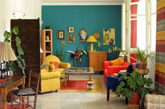bright turquoise, yellow and coral