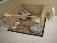 The most Convenient, Large, Safe, Secure and Great-looking Indoor Dog Pen Design Ever!  READY-TO-FINISH Solid Red Oak w/Floor