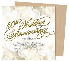 50th Wedding Anniverary Invitations : Roses Gold 50th Wedding Anniversary Party Invitation Template